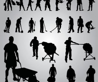 Worker Silhouettes vector illustration