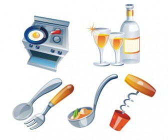 Free stock vector design elements 3D set icon cookery 36