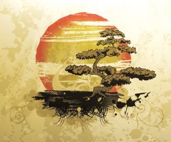Bonsai and Sun Artwork