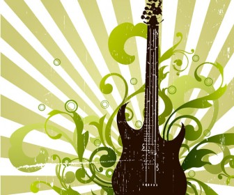 Abstract Guitar Floral Artwork