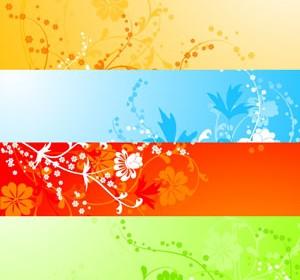 Banner Flower Background Set