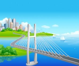 City Bridge Vector Landscape