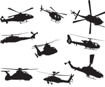 Helicopters Silhouette Vector
