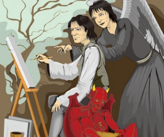 Artist with Angel and Monster Illustration