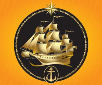 Golden Sailboat Vector Illustration