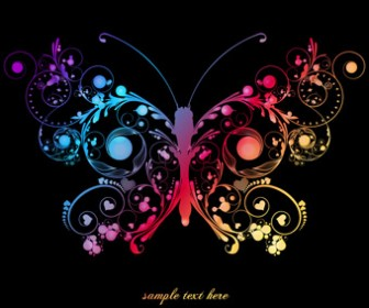 Abstract Art Floral Butterfly