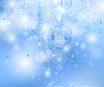 Snowflakes Ornaments and Christmas Ball Background
