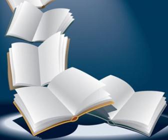 Open flying books vector