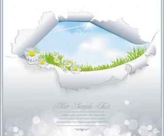 Spring landscape card vector