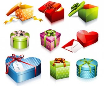 Gift Box Gift Vector Illustration Set