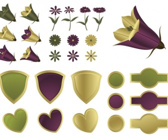 Flowers and shields vector