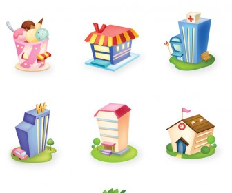 3D Hauses Icon Vector Set