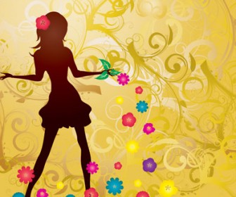 Vector Girl with Flowers illustration