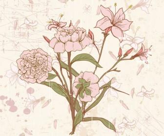 Vector Retro Floral Illustration