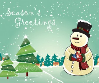 Snowman Vector with Christmas Tree