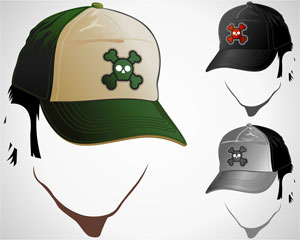 Illustration Male Skull Hats
