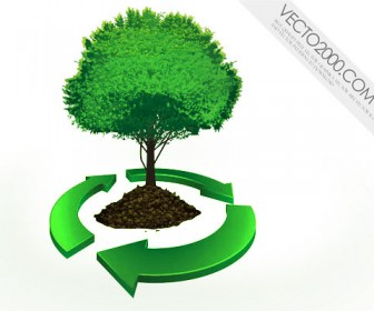 Illustration recycle tree
