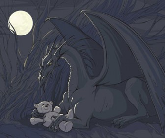 Vector Illustration of Dragon with Teddy