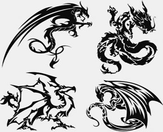 Silhouette Dragon Tattoo Vector Set