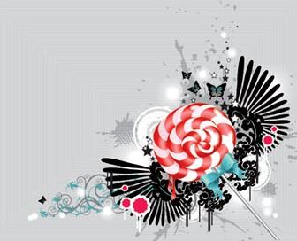Candy Illustration on Floral Background Vector