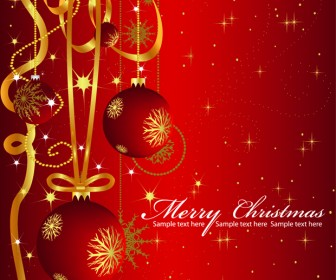Christmas Greeting Card with Balls Background