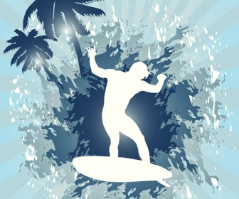 Silhouette Surfer Vector Background