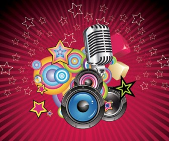 Vector Music Background with Microphone and Speaker