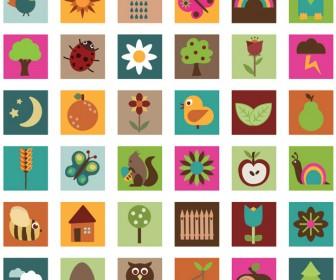 Nature Icons Illustration Vector Art