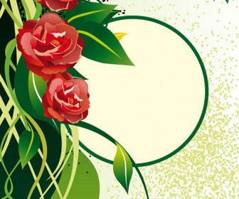 Green card of flower vector background