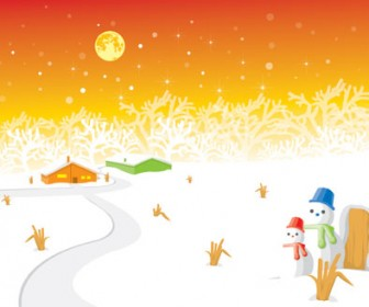 Snowman landscape vector illustration