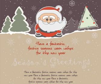 Vector Christmas Card with Santa Claus