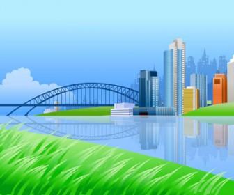 City on River Side Vector Landscape