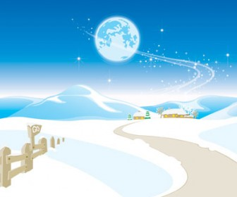 Snow landscape vector illustration