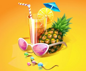 Tropical Cocktail Vector Illustration