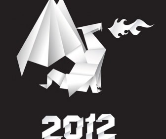 2012 Dragon Origami Vector