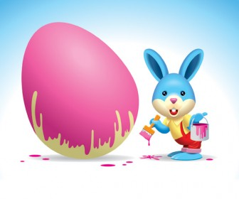 Rabbit painting the egg vector
