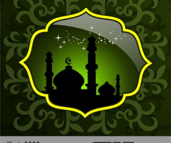 Green Mosque Background Template