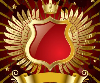 Gold Wings Red Banner Vector