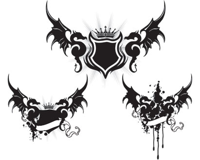 dragon wings tattoo vector art - ai, svg, eps vector free download