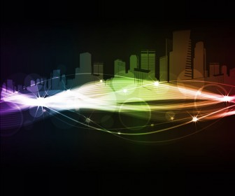 City Abstract Glowing Vector Graphic
