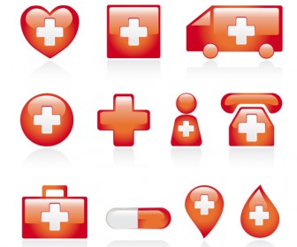Red medical icons vector