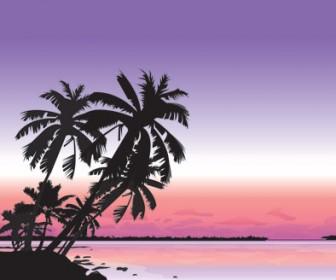 Silhouette Beach landscape vector