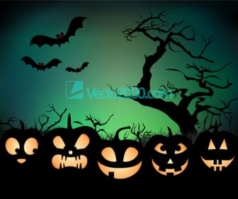 Halloween Night Background with Pumpkin Face