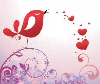 Valentine Vector with Bird Floral and Heart
