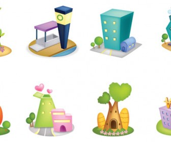 3D houses icon set vector