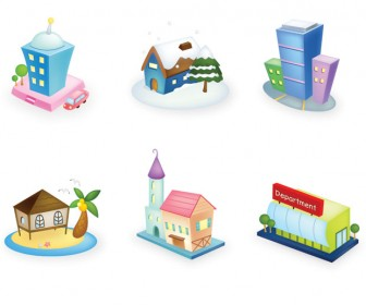 3D Hauses Icon Set Vector