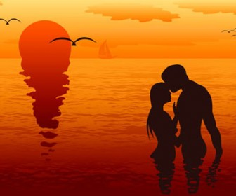 Loving Couple Silhouette Vector