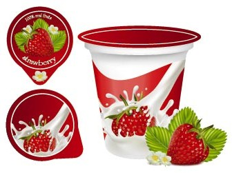 Fruit Yoghurt Vector Ilustrations