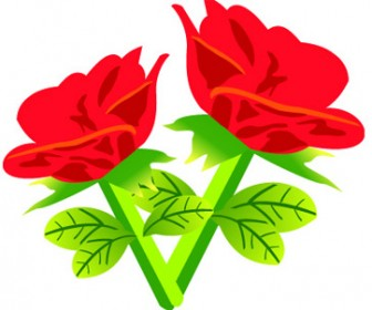 Vector Red Rose Flowers