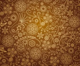 Vintage Floral Brown Background Vector